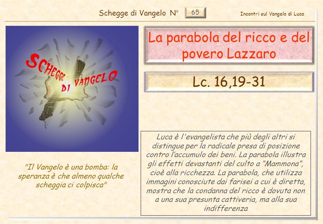 65 La parabola del ricco e del povero Lazzaro Schegge di VangeloN°
