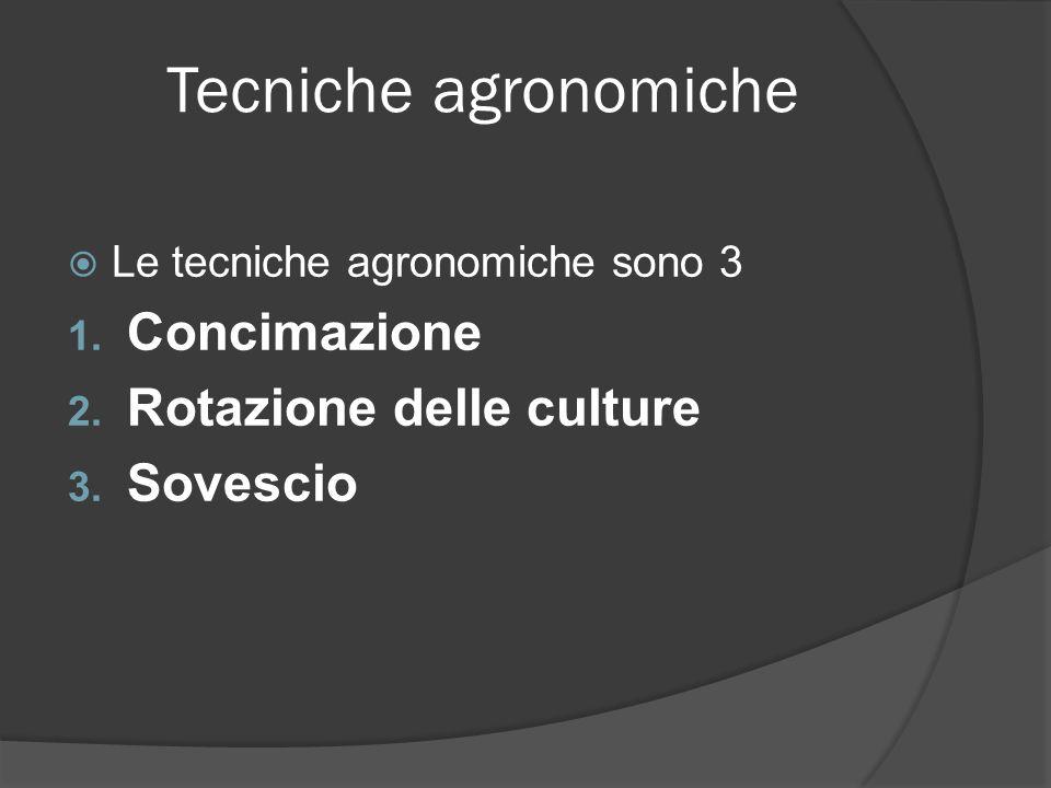 Tecniche agronomiche Le tecniche agronomiche sono 3 1. Concimazione 2. Rotazione delle culture 3. Sovescio