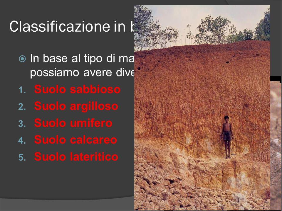 Classificazione in base ai componenti In base al tipo di materiale presente possiamo avere diverse tipologie di suolo 1. Suolo sabbioso 2. Suolo argil