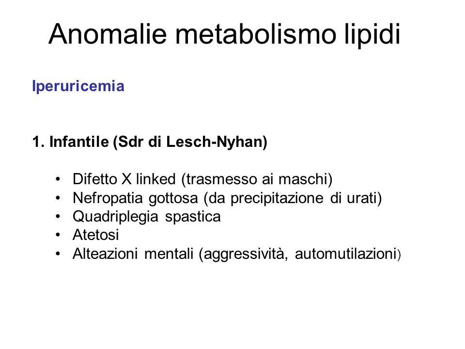Anomalie metabolismo lipidi Iperuricemia 1.Infantile (Sdr di Lesch-Nyhan) Difetto X linked (trasmesso ai maschi) Nefropatia gottosa (da precipitazione di urati) Quadriplegia spastica Atetosi Alteazioni mentali (aggressività, automutilazioni )