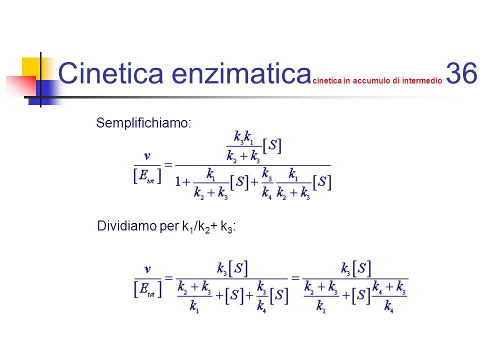 Cinetica enzimatica cinetica in accumulo di intermedio 36 Semplifichiamo: Dividiamo per k 1 /k 2 + k 3 :