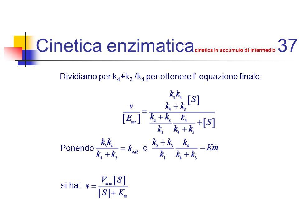 Cinetica enzimatica cinetica in accumulo di intermedio 37 Dividiamo per k 4 +k 3 /k 4 per ottenere l' equazione finale: Ponendo e si ha: