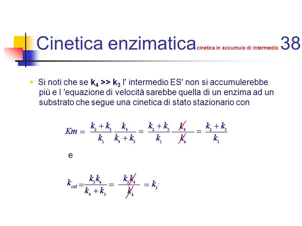 Cinetica enzimatica cinetica in accumulo di intermedio 38 Si noti che se k 4 >> k 3 l' intermedio ES' non si accumulerebbe più e l 'equazione di veloc