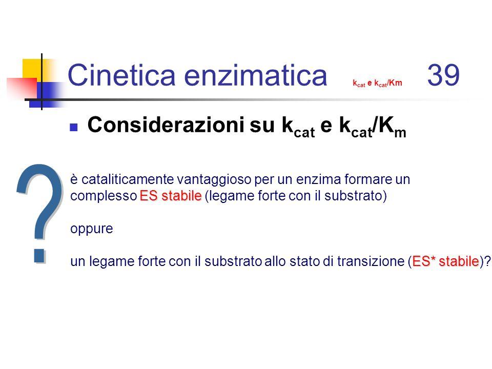 Cinetica enzimatica k cat e k cat /Km 39 Considerazioni su k cat e k cat /K m è cataliticamente vantaggioso per un enzima formare un ES stabile comple