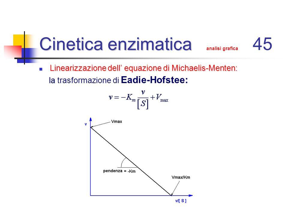 Cinetica enzimatica Cinetica enzimatica analisi grafica 45 Linearizzazione dell equazione di Michaelis-Menten: Linearizzazione dell equazione di Micha