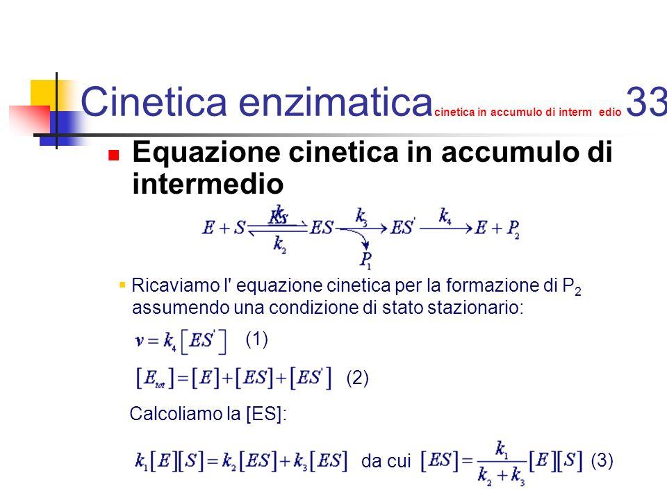 Cinetica enzimatica cinetica in accumulo di intermedio 34 Calcoliamo la [ES ] in condizioni di stato stazionario : da cui risolvendo per [ES ] e sostituendo a [ES] l espressione (3): (4)