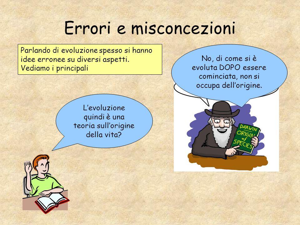 Errori e misconcezioni Parlando di evoluzione spesso si hanno idee erronee su diversi aspetti. Vediamo i principali Levoluzione quindi è una teoria su