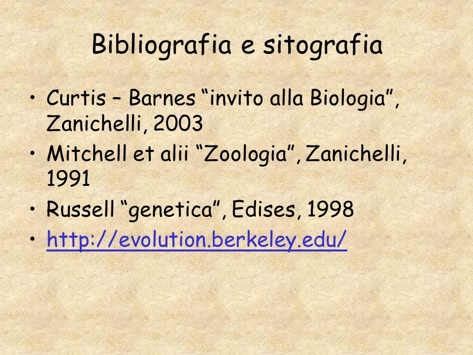 Bibliografia e sitografia Curtis – Barnes invito alla Biologia, Zanichelli, 2003 Mitchell et alii Zoologia, Zanichelli, 1991 Russell genetica, Edises,
