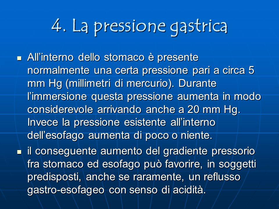 4. La pressione gastrica Allinterno dello stomaco è presente normalmente una certa pressione pari a circa 5 mm Hg (millimetri di mercurio). Durante li