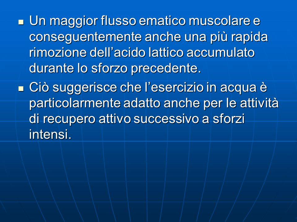 Un maggior flusso ematico muscolare e conseguentemente anche una più rapida rimozione dellacido lattico accumulato durante lo sforzo precedente. Un ma