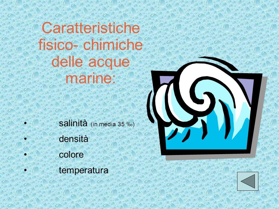 Il mare Massa dacqua salata che ricopre il 70% circa della superficie terrestre. Caratteristiche fisico-chimiche delle acque marine Classificazione de