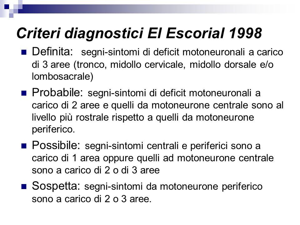 Criteri diagnostici El Escorial 1998 Definita: segni-sintomi di deficit motoneuronali a carico di 3 aree (tronco, midollo cervicale, midollo dorsale e