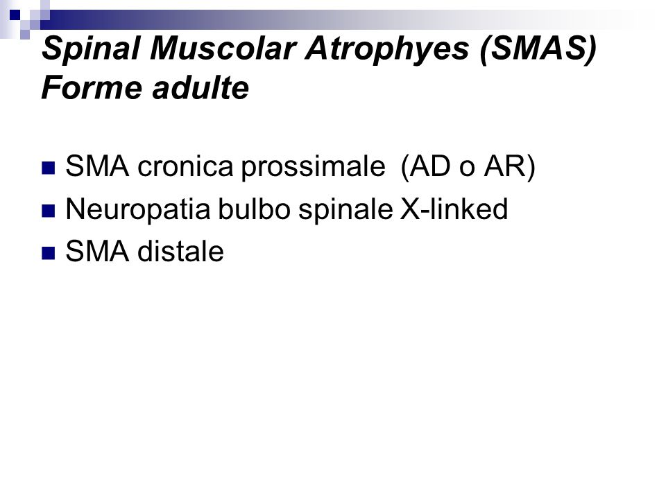 Spinal Muscolar Atrophyes (SMAS) Forme adulte SMA cronica prossimale (AD o AR) Neuropatia bulbo spinale X-linked SMA distale