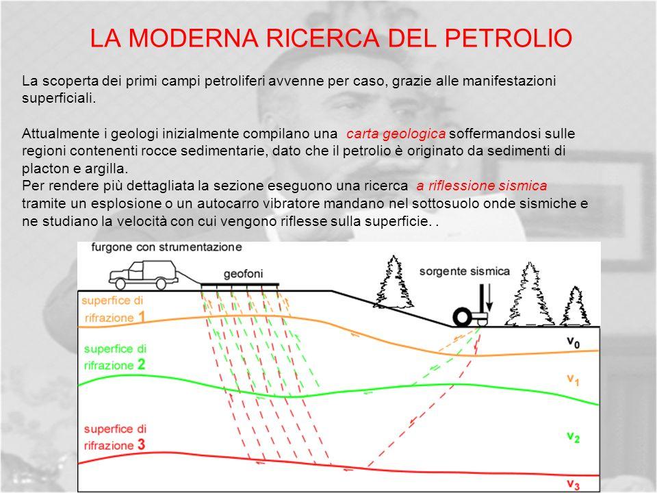 LA MODERNA RICERCA DEL PETROLIO La scoperta dei primi campi petroliferi avvenne per caso, grazie alle manifestazioni superficiali.