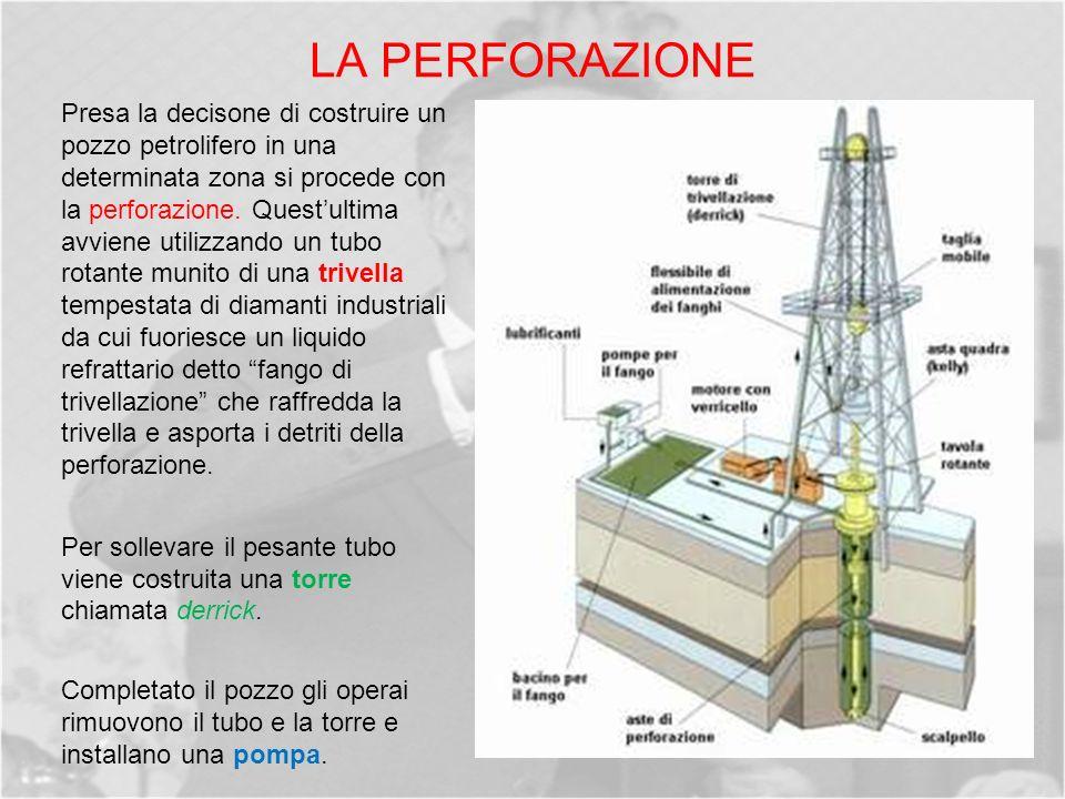 LA PERFORAZIONE Presa la decisone di costruire un pozzo petrolifero in una determinata zona si procede con la perforazione.
