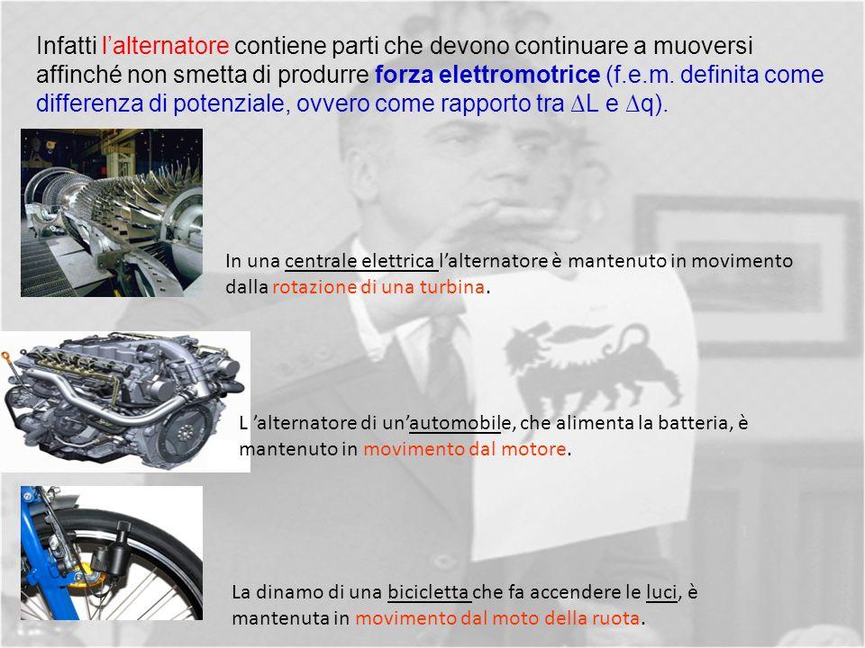 Infatti lalternatore contiene parti che devono continuare a muoversi affinché non smetta di produrre forza elettromotrice (f.e.m.