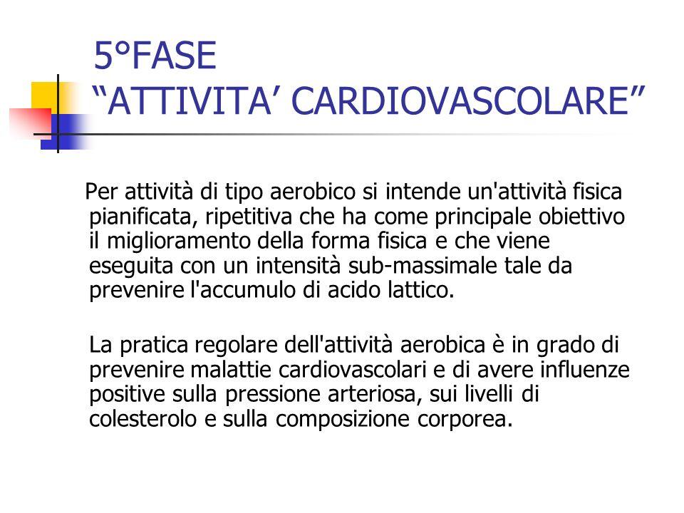 5°FASE ATTIVITA CARDIOVASCOLARE Per attività di tipo aerobico si intende un'attività fisica pianificata, ripetitiva che ha come principale obiettivo i