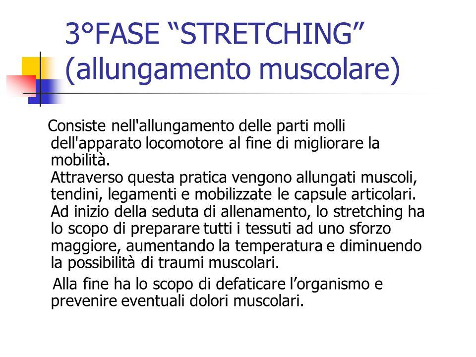 3°FASE STRETCHING (allungamento muscolare) Consiste nell'allungamento delle parti molli dell'apparato locomotore al fine di migliorare la mobilità. At