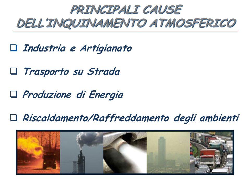 PRINCIPALI CAUSE DELLINQUINAMENTO ATMOSFERICO Industria e Artigianato Trasporto su Strada Produzione di Energia Riscaldamento/Raffreddamento degli ambienti