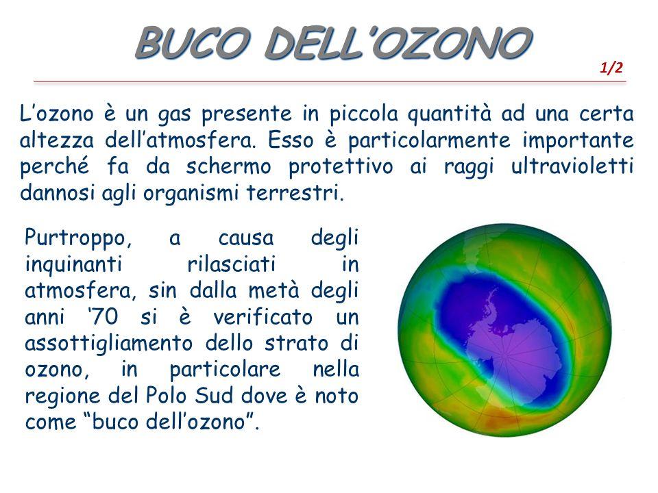 BUCO DELLOZONO 1/2 Lozono è un gas presente in piccola quantità ad una certa altezza dellatmosfera.