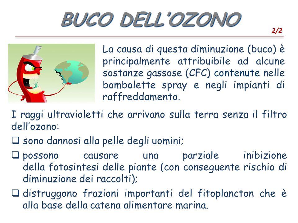 BUCO DELLOZONO 2/2 La causa di questa diminuzione (buco) è principalmente attribuibile ad alcune sostanze gassose (CFC) contenute nelle bombolette spray e negli impianti di raffreddamento.