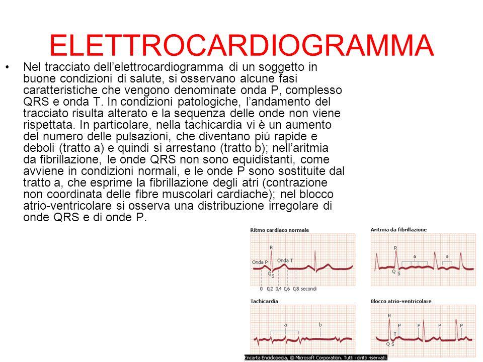 ELETTROCARDIOGRAMMA Nel tracciato dellelettrocardiogramma di un soggetto in buone condizioni di salute, si osservano alcune fasi caratteristiche che v