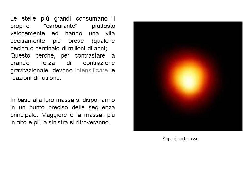 Supergigante rossa Le stelle più grandi consumano il proprio