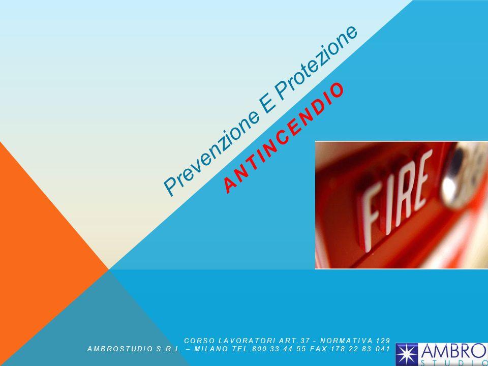 Rischio di incendio = Frequenza x Magnitudo In base a tale formula risulta evidente che quanto più si riducono la frequenza o la magnitudo, o entrambe, tanto più si ridurrà il rischio Prevenzione Incendi CORSO LAVORATORI ART.37 - NORMATIVA 129 AMBROSTUDIO S.R.L.