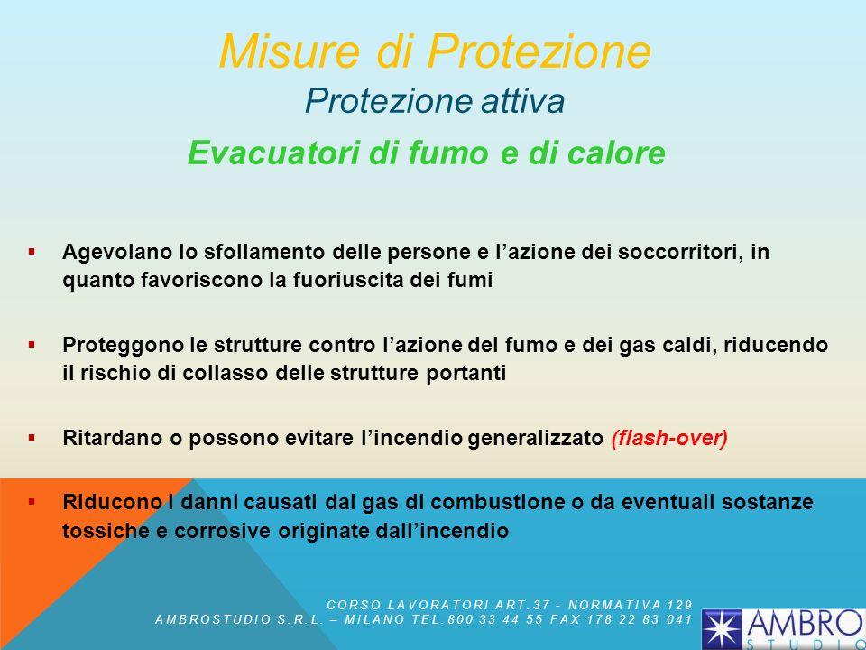 Evacuatori di fumo e di calore Vengono utilizzati in combinazione con gli impianti di rivelazioni e si basano sullo sfruttamento del movimento verso l