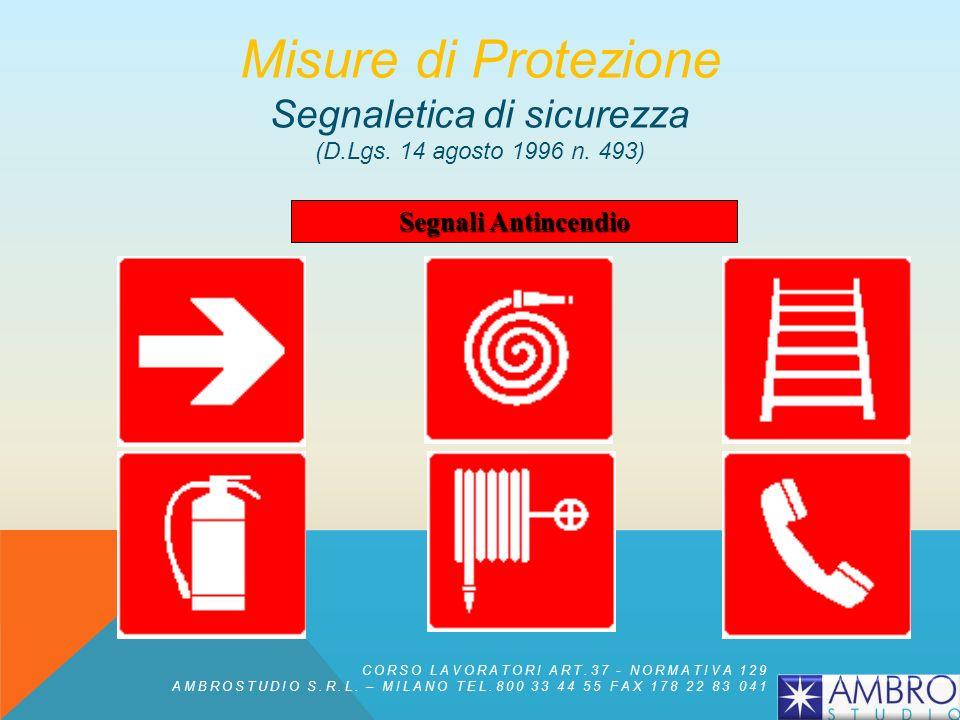 Segnali di Divieto Misure di Protezione Segnaletica di sicurezza (D.Lgs. 14 agosto 1996 n. 493) CORSO LAVORATORI ART.37 - NORMATIVA 129 AMBROSTUDIO S.