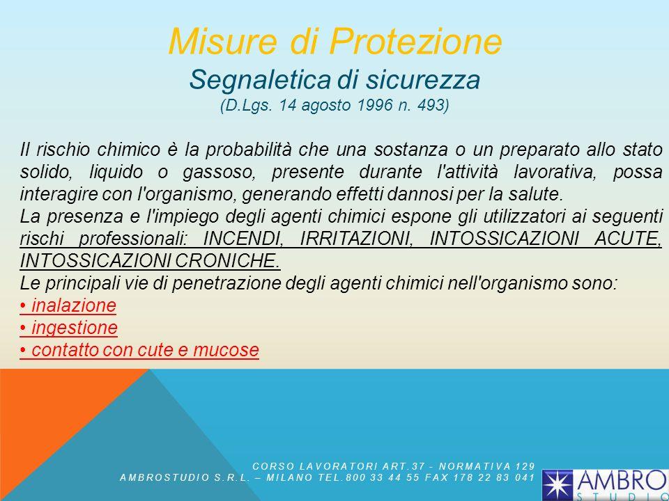 Segnale di Salvataggio o di Soccorso Misure di Protezione Segnaletica di sicurezza (D.Lgs. 14 agosto 1996 n. 493) CORSO LAVORATORI ART.37 - NORMATIVA