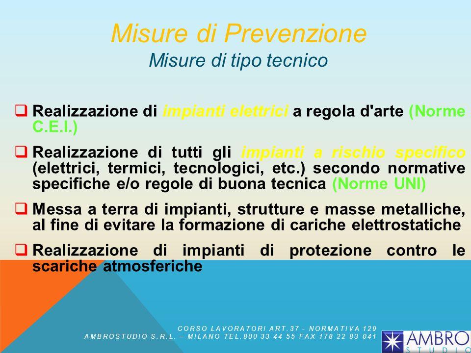 MISURE DI PREVENZIONE INCENDI Misure di protezione Misure di tipo tecnico Misure di tipo organizzativo-gestionale Misure di protezione attiva Misure d