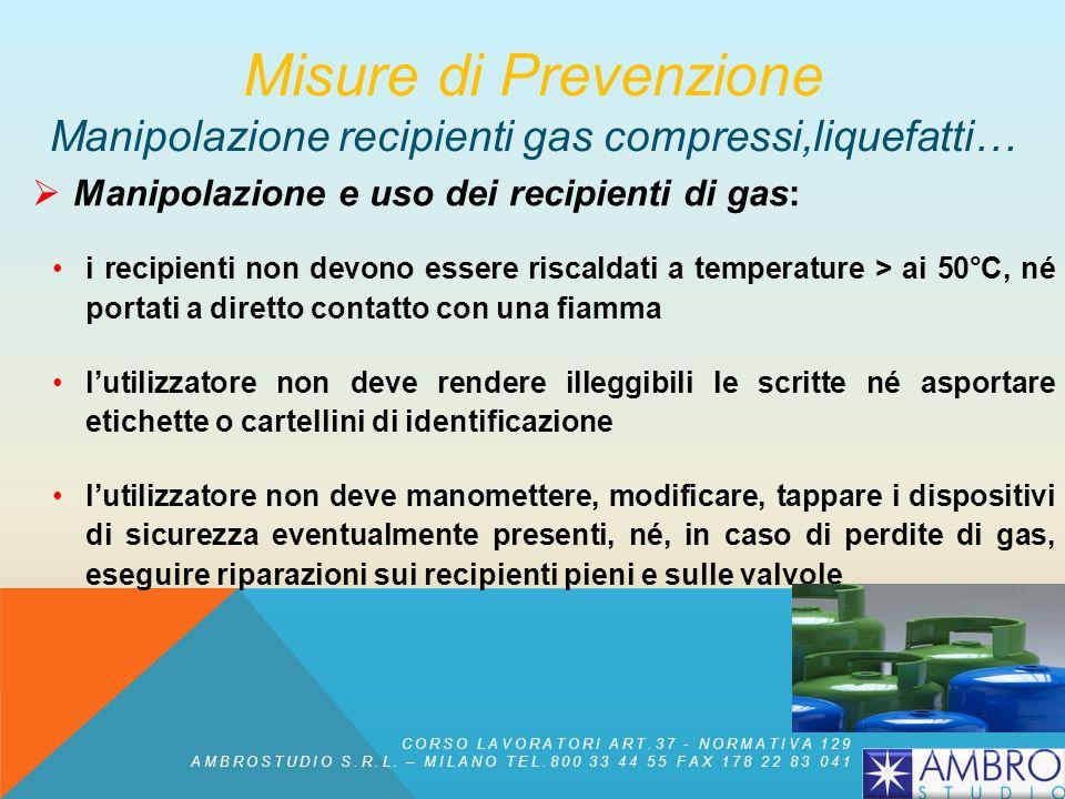 Manipolazione e uso dei recipienti di gas: prima di utilizzare un recipiente e togliere il cappellotto di protezione, ancorarlo ad un supporto solido