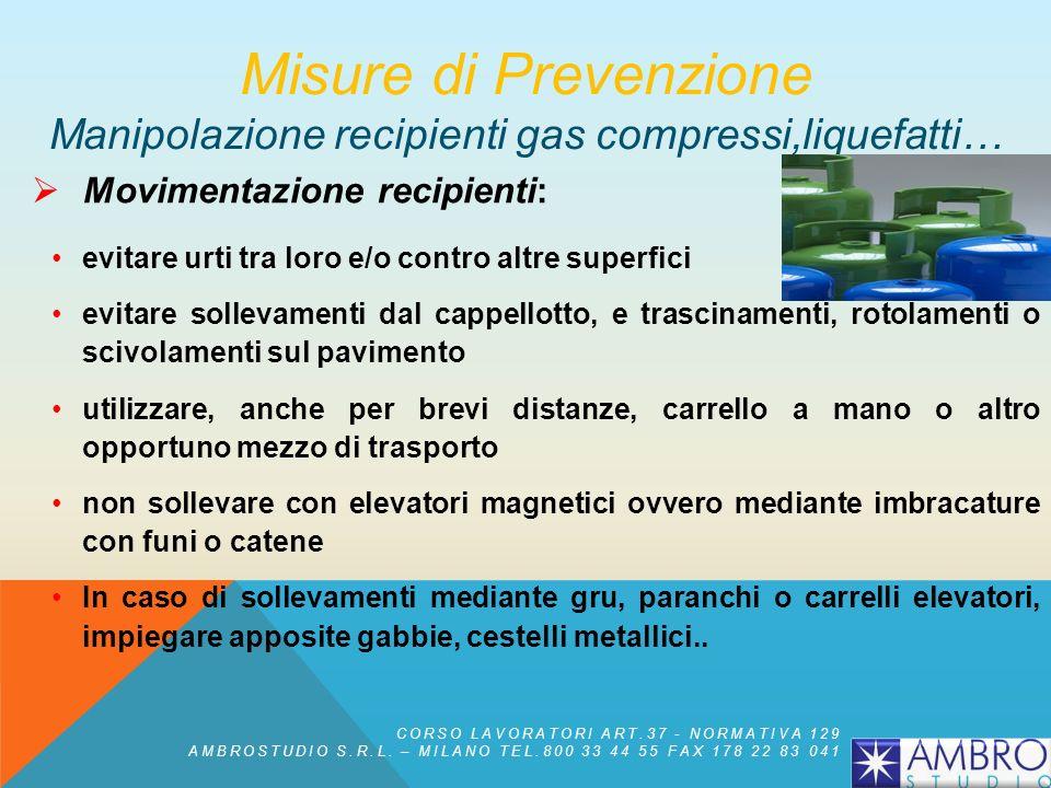 Manipolazione e uso dei recipienti di gas: Non devono essere montati manometri, riduttori di pressione o altri dispositivi previsti per un particolare