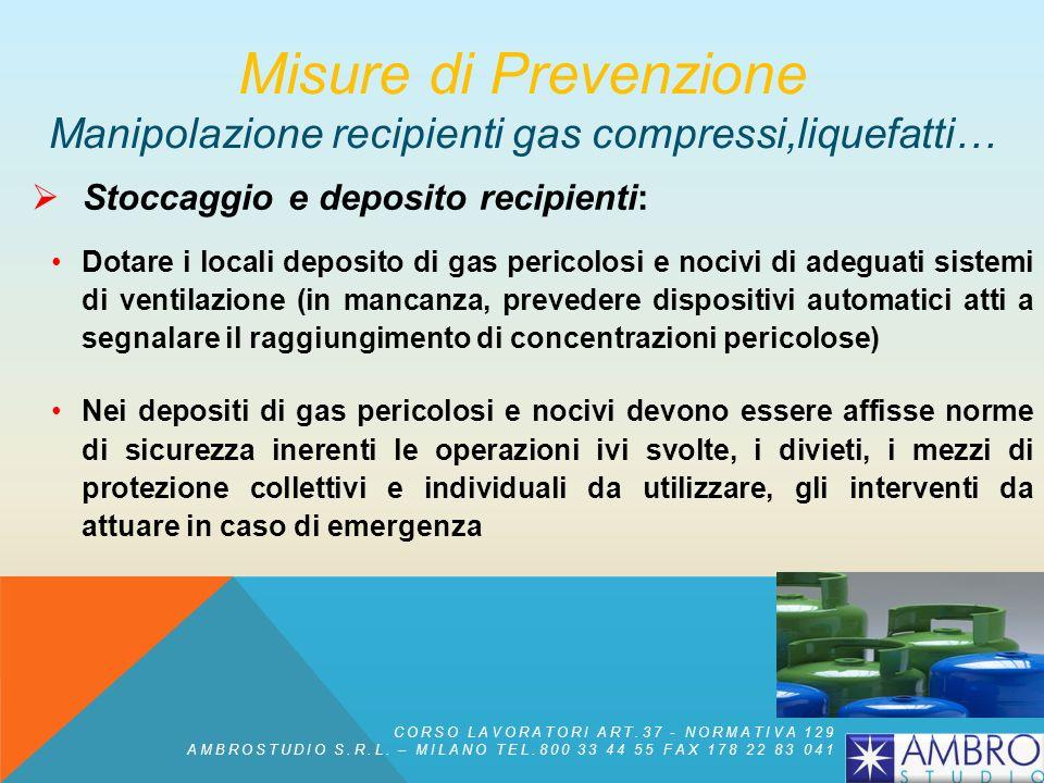 Stoccaggio e deposito recipienti: è fatto divieto di immagazzinare in uno stesso locale recipienti contenenti gas tra loro incompatibili (es. gas infi