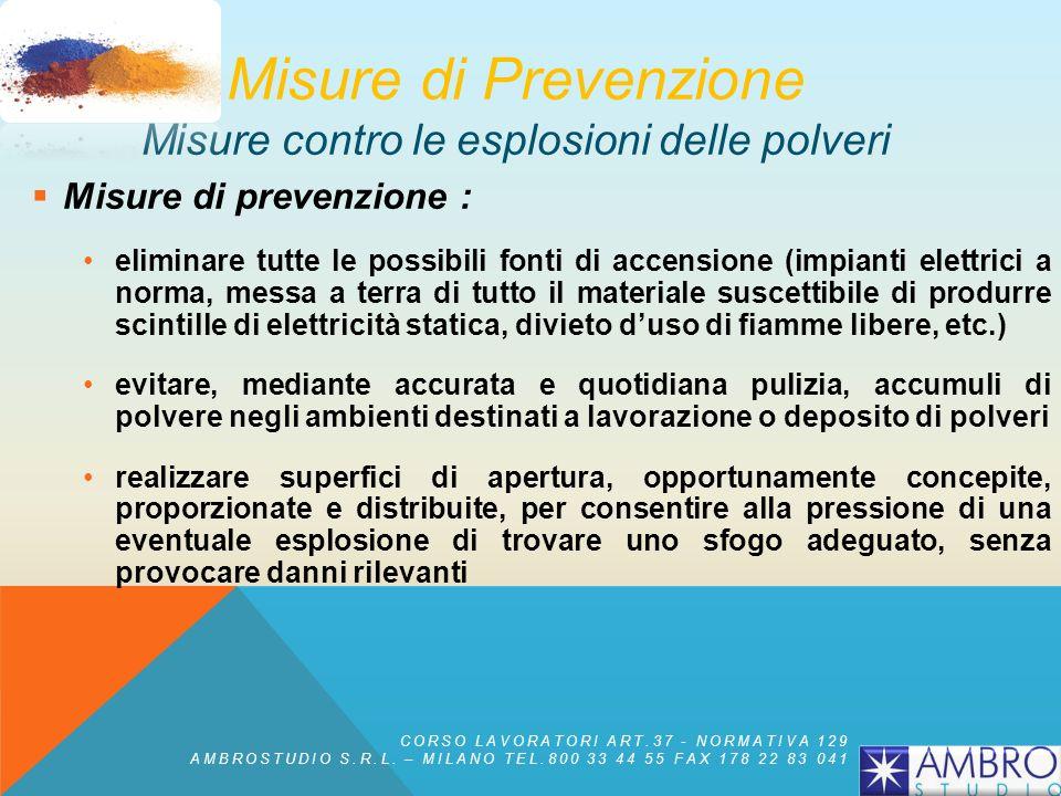 Condizioni necessarie per unesplosione: esistenza di una nuvola di polvere sufficientemente fitta presenza di ossigeno, aria o altro comburente, in qu