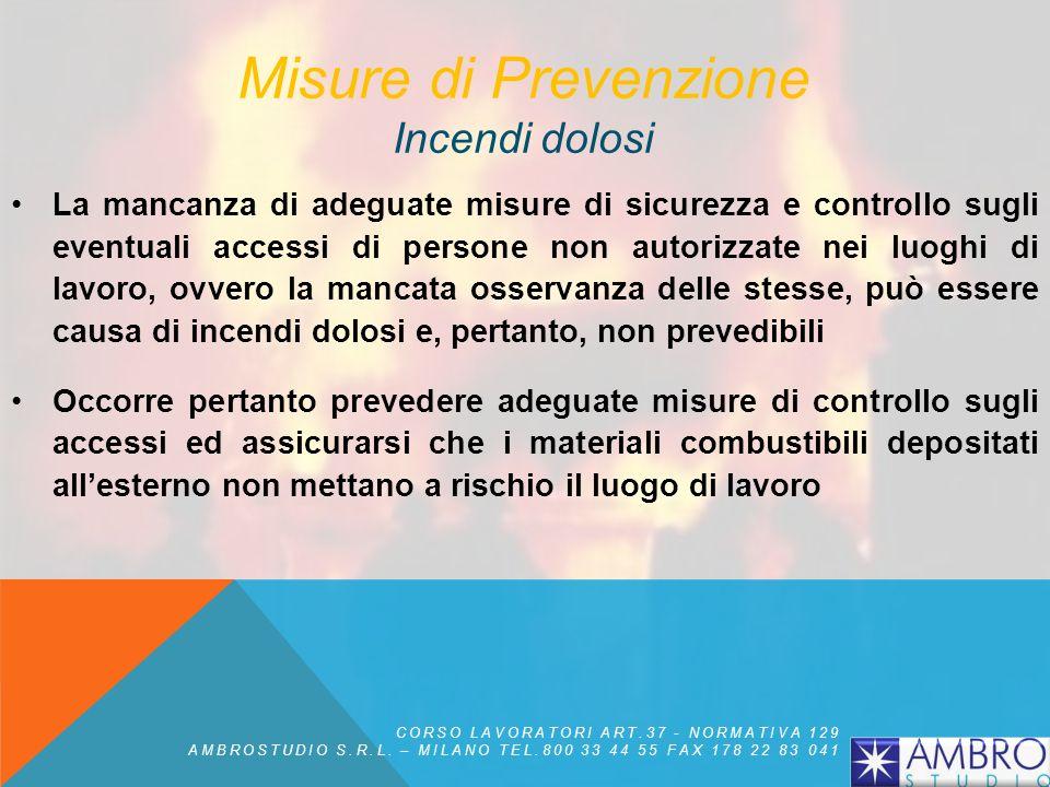 Misure di Prevenzione Aree non frequentate Le aree dei luoghi di lavoro che normalmente non vengono frequentate da personale (cantinati, depositi, mag