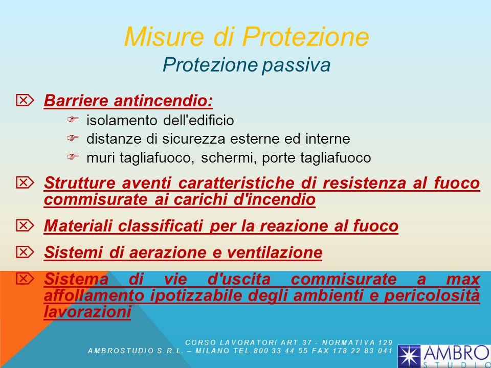Misure di protezione PASSIVA Insieme delle misure di protezione che non richiedono lintervento di un uomo o lazionamento di un impianto per essere eff