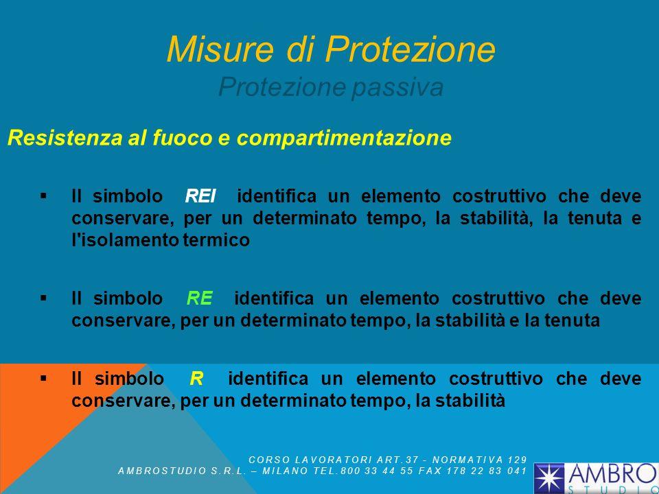 Resistenza al fuoco e compartimentazione (R) - stabilità L'attitudine di un elemento da costruzione a conservare la resistenza meccanica sotto l'azion