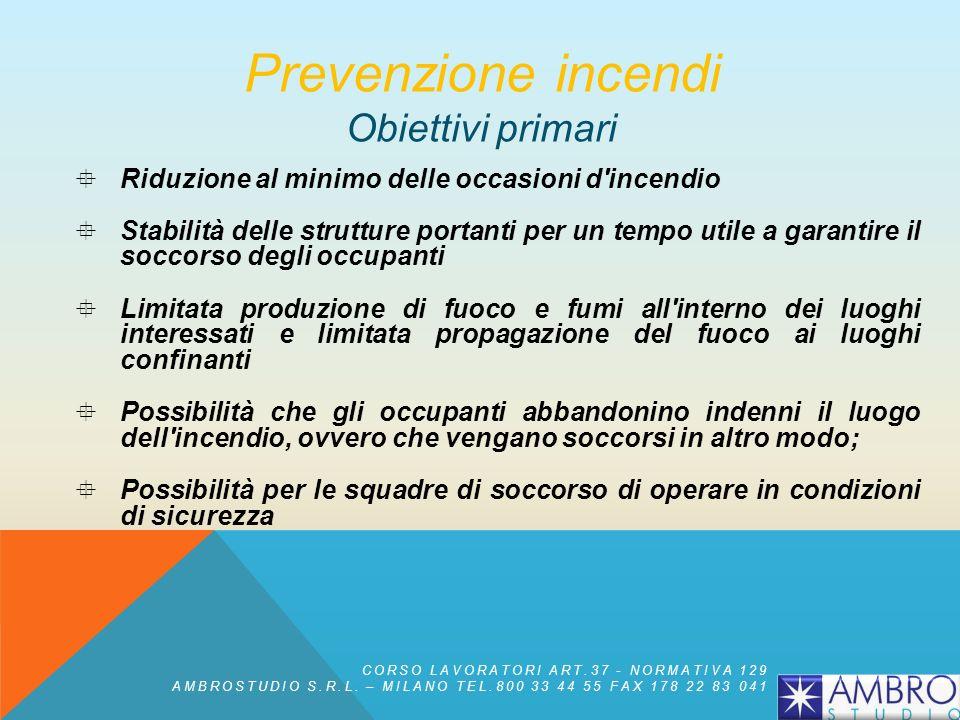 MISURE DI PREVENZIONE E PROTEZIONE Prevenzione incendi CORSO LAVORATORI ART.37 - NORMATIVA 129 AMBROSTUDIO S.R.L.