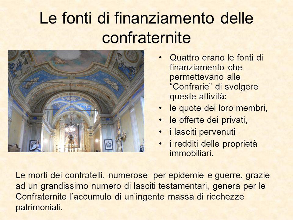Le fonti di finanziamento delle confraternite Quattro erano le fonti di finanziamento che permettevano alle Confrarie di svolgere queste attività: le