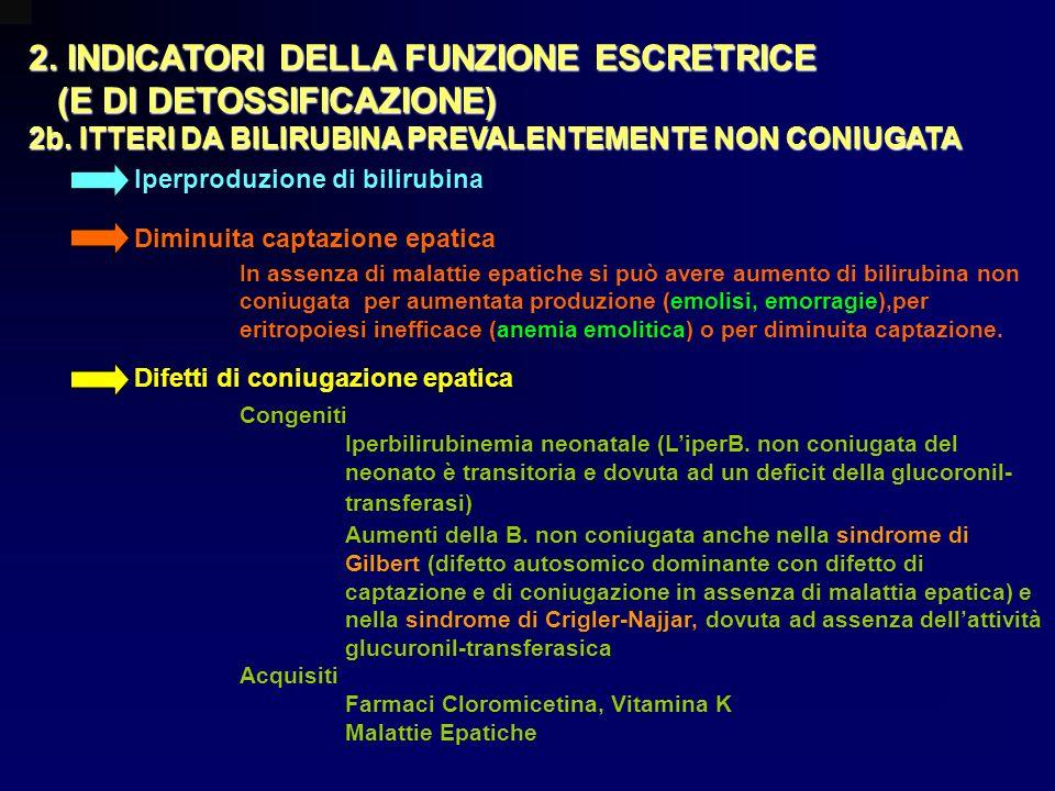 2. INDICATORI DELLA FUNZIONE ESCRETRICE (E DI DETOSSIFICAZIONE) (E DI DETOSSIFICAZIONE) 2b. ITTERI DA BILIRUBINA PREVALENTEMENTE NON CONIUGATA Iperpro
