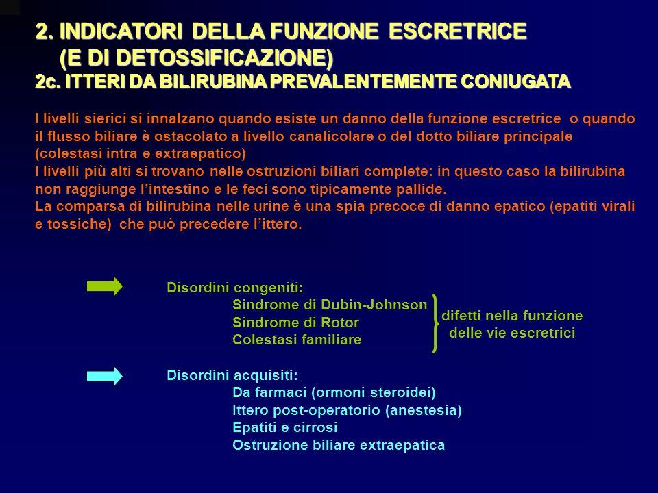 2. INDICATORI DELLA FUNZIONE ESCRETRICE (E DI DETOSSIFICAZIONE) (E DI DETOSSIFICAZIONE) 2c. ITTERI DA BILIRUBINA PREVALENTEMENTE CONIUGATA I livelli s