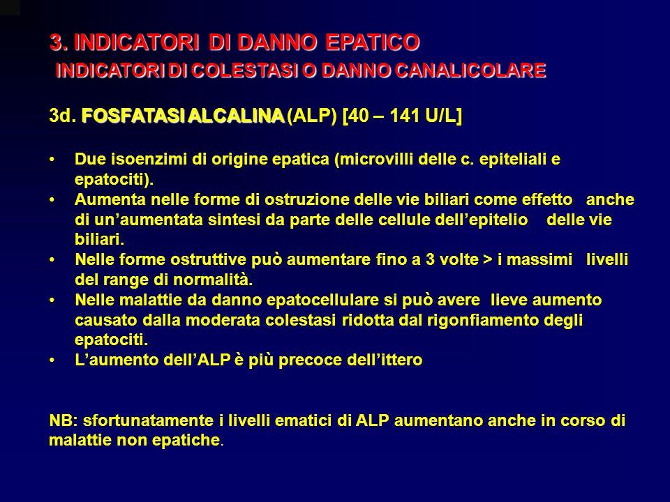 3. INDICATORI DI DANNO EPATICO INDICATORI DI COLESTASI O DANNO CANALICOLARE INDICATORI DI COLESTASI O DANNO CANALICOLARE FOSFATASI ALCALINA 3d. FOSFAT