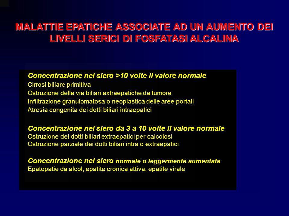 MALATTIE EPATICHE ASSOCIATE AD UN AUMENTO DEI LIVELLI SERICI DI FOSFATASI ALCALINA Concentrazione nel siero >10 volte il valore normale Cirrosi biliar