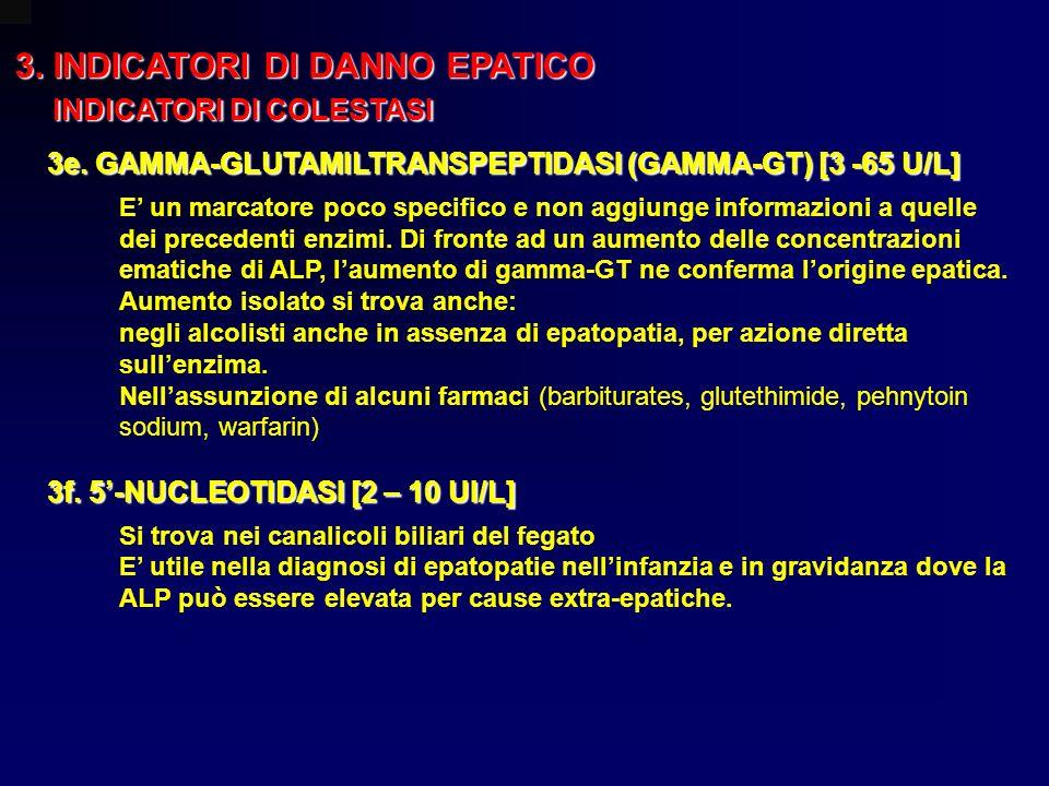 3. INDICATORI DI DANNO EPATICO INDICATORI DI COLESTASI INDICATORI DI COLESTASI 3e. GAMMA-GLUTAMILTRANSPEPTIDASI (GAMMA-GT) [3 -65 U/L] E un marcatore
