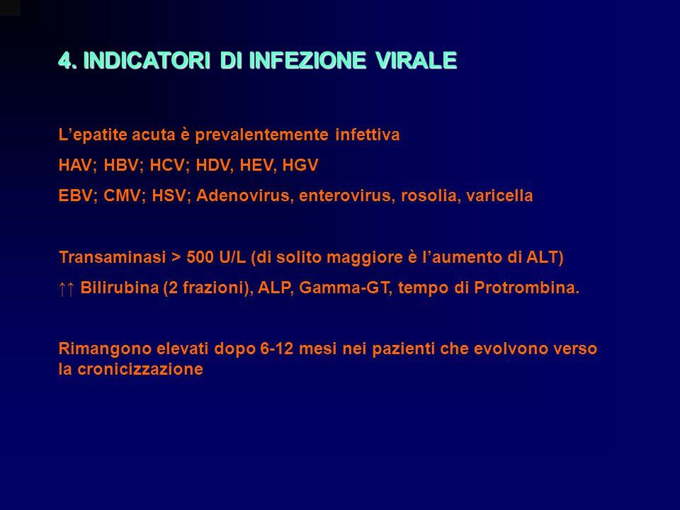 4. INDICATORI DI INFEZIONE VIRALE Lepatite acuta è prevalentemente infettiva HAV; HBV; HCV; HDV, HEV, HGV EBV; CMV; HSV; Adenovirus, enterovirus, roso