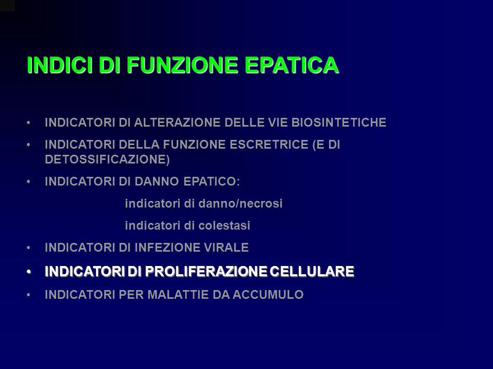 INDICI DI FUNZIONE EPATICA INDICATORI DI ALTERAZIONE DELLE VIE BIOSINTETICHE INDICATORI DELLA FUNZIONE ESCRETRICE (E DI DETOSSIFICAZIONE) INDICATORI D