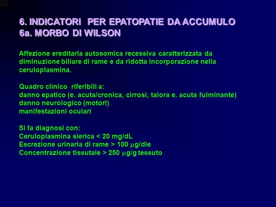 6. INDICATORI PER EPATOPATIE DA ACCUMULO 6a. MORBO DI WILSON Affezione ereditaria autosomica recessiva caratterizzata da diminuzione biliare di rame e