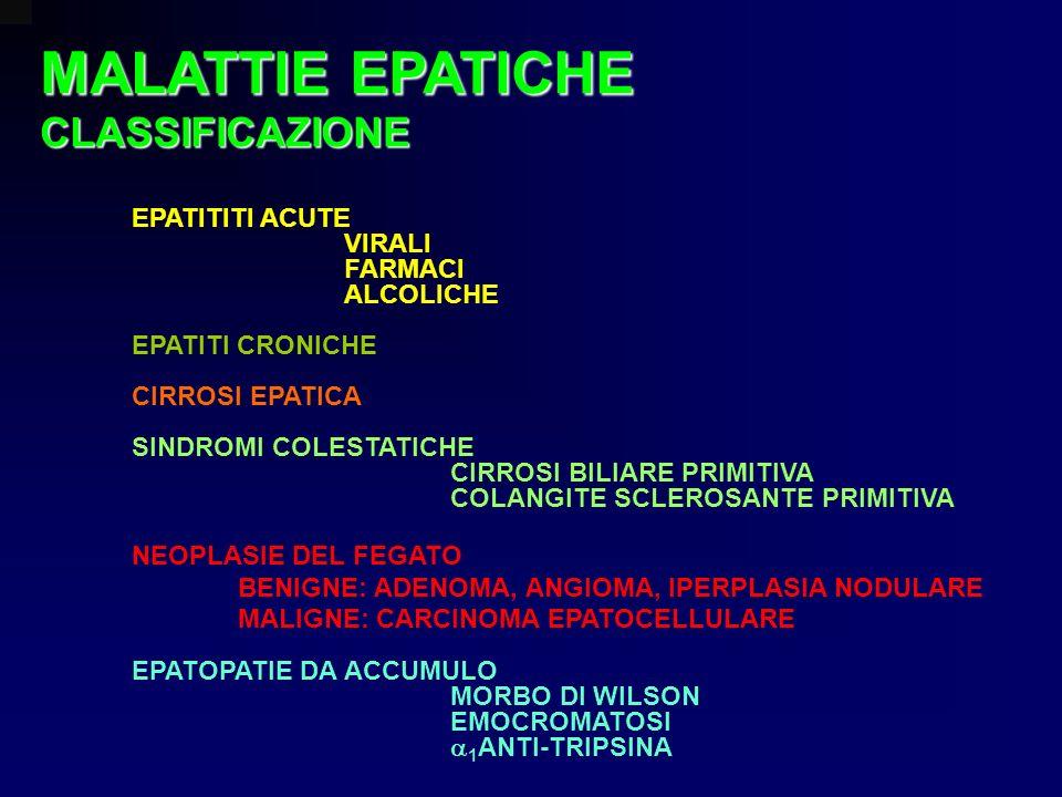 EPATITITI ACUTE VIRALI FARMACI ALCOLICHE EPATITI CRONICHE CIRROSI EPATICA SINDROMI COLESTATICHE CIRROSI BILIARE PRIMITIVA COLANGITE SCLEROSANTE PRIMIT